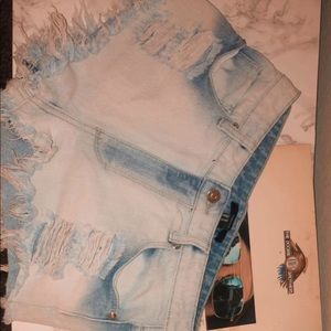 Distressed white washed shorts
